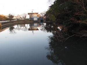 浜郷神社・栄通神社に隣接した池