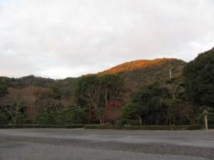 神苑から望む鼓ヶ岳