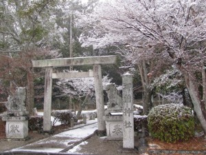 2011年の初雪(御薗神社)