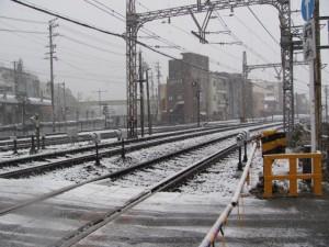 2011年の初雪(伊勢市駅付近)