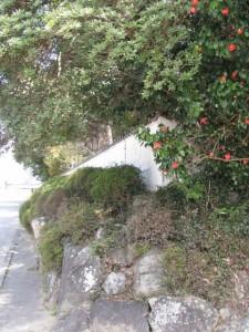竹大與杼神社の石垣、白塀