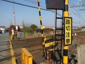 近鉄小俣駅近くの踏切から