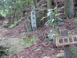 十八町角柱町石(?)付近 - 朝熊岳道