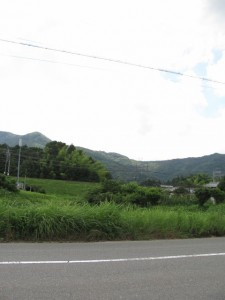 一宇田付近から見上げる朝熊山
