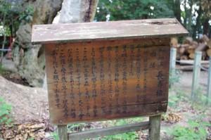 御神木 長寿樟の案内板(松阪神社)