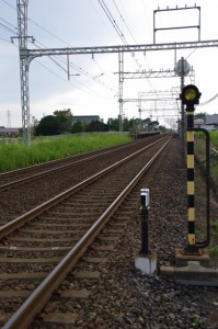 近鉄斎宮駅(名古屋側の踏切から)