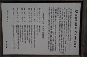 伊勢電気鉄道・大神宮前駅跡地の説明板