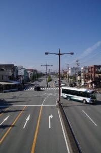 宮町交差点歩道橋から望む度会橋方面