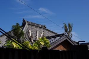 等観寺への脇道から望む等観寺の屋根