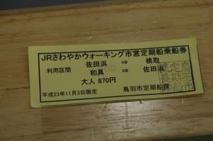 JRさわやかウォーキング専用の往復乗船券