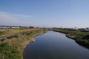 小川橋から望む中村川の下流方向