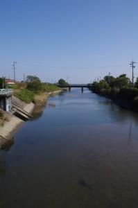 巡見橋から望む三渡川の下流方向
