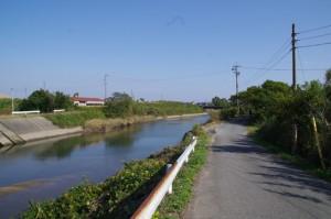 三渡川の右岸堤防道路