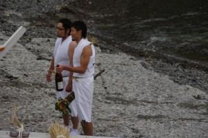 下の浜(神の島)へのお参り前(二船祭)