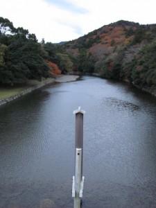 宇治橋から望む五十鈴川の上流方向