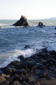 大注連縄の張替準備(夫婦岩)