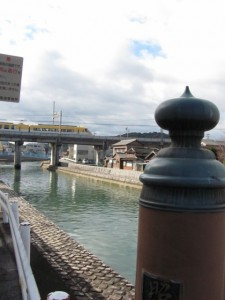 小田橋から望む近鉄鳥羽線の架橋