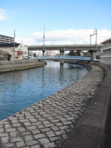 瀧浪橋と鉄鳥羽線の架橋と(勢田川)