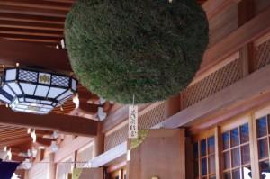 祈祷殿の志るしの杉玉(大神神社)