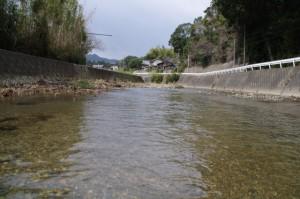 鳥羽河内川の上流方向(河内神社付近)