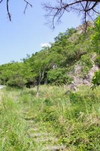 語り場付近から望むおうむ岩