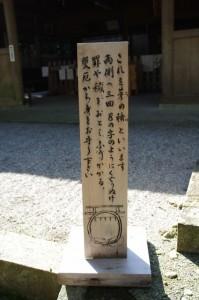 茅の輪のくぐり方の説明(佐那神社)