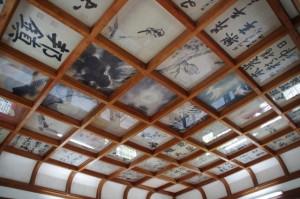 伊賀上野城の天守閣最上階の天井