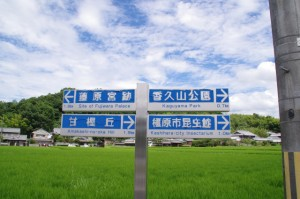 バイパス道路の道標(法然寺付近)