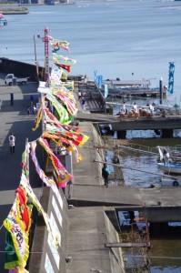 太一御用船歓迎準備(神社港)