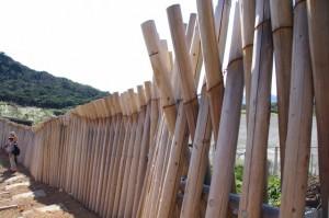 丸太で組まれた防風壁?(神島)