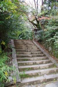 拝殿右手奥の石段(飛鳥坐神社)