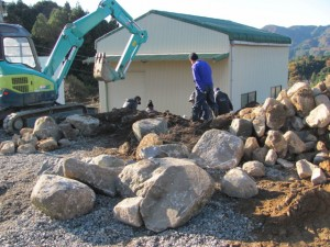 石積み体験場所の準備(坂本棚田)
