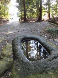 度会大国玉比賣神社ほかへの参道にある手水石
