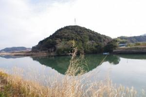 五十鈴川左岸から望む鏡宮神社および朝熊神社の社叢