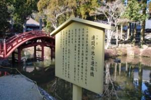 連間の池と連珠橋の説明板(金剛證寺)