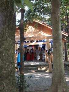 楠部町萬歳楽 祭典の準備(櫲樟尾神社)