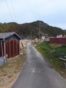 松下社から粟皇子神社へ(国道42号線から左折した農道)
