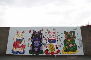 堤防壁画(伊勢市神社港)2012.2.12制作