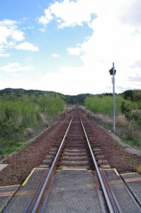 JR東海 圦先(ゆりさき)踏切から望む松下駅方向