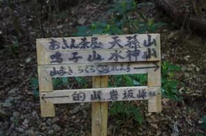 的山、鳴子山分岐道標(旧国束山参道、国束山(山コース))