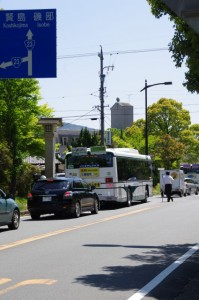 国道23号線中村町交差点と合流する手前の交差点(御幸道路)