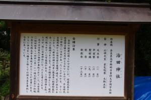 治田神社の由緒沿革説明板