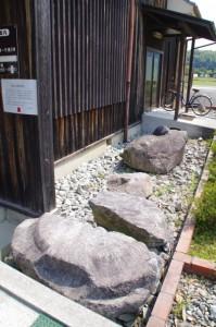飛鳥寺講堂の礎石(明日香村埋蔵文化財展示室前)