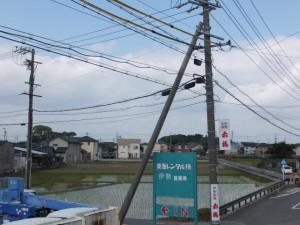 高向交差点(国道23号線)の歩道橋から望む宇須乃野神社と高向大社の社叢