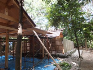 本殿と拝殿の間に屋根を建築中(高向大社)