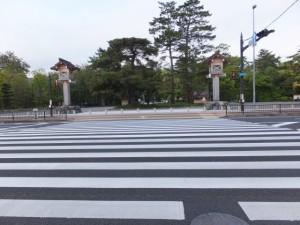 表参道口前の横断歩道(外宮)