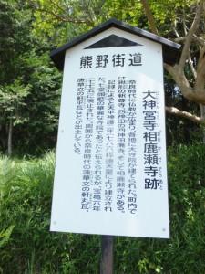 「大神宮寺相鹿瀬寺跡」の説明板