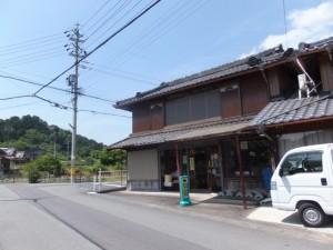 「↑熊野古道・バカ曲り、→JR栃原駅・・」の道標