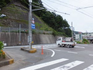 国道42号線と合流する交差点
