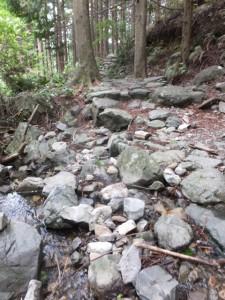 石畳の途中で渡る沢(ツヅラト峠~志子登り口)